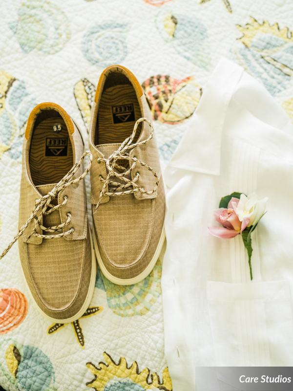 Groom's boat shoes in Florida Keys' wedding.