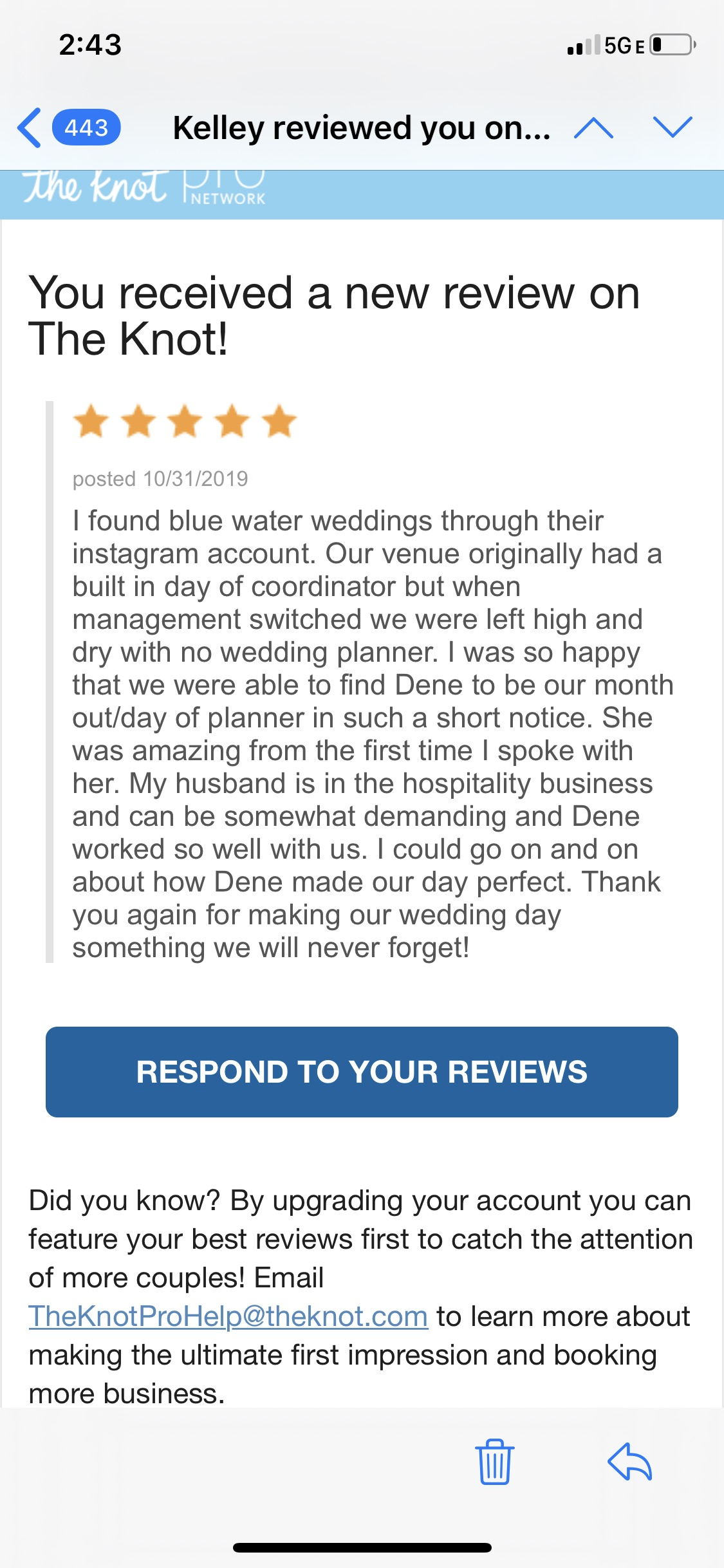 The Knot review shares praise for Blue Water Weddings planner in the Florida Keys.