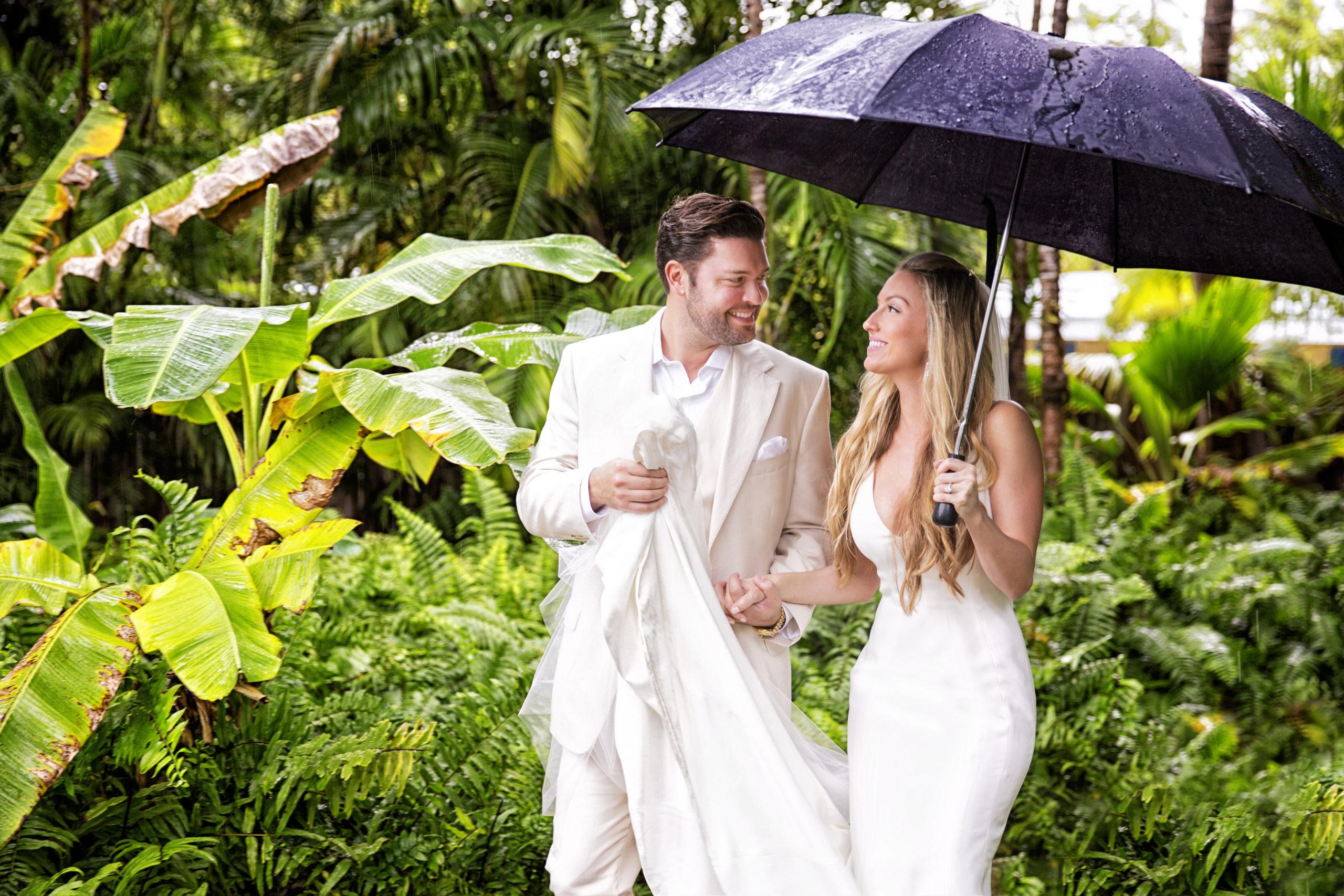 Florida Keys wedding couple walk blissfully in the rain